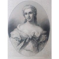 MELLE CAUSSIN    РЕДКАЯ . Старинная гравюра ПАРИЖ 1860 год. оригинал 27 х18 см.