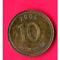 18-09 Южная Корея, 10 вон 2005 г.