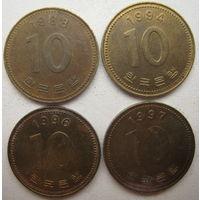 Южная Корея 10 вон 1988, 1994, 1996, 1997 гг. Цена за 1 шт. (g)