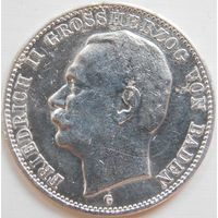 25. Германия Баден 3 марки 1910 год, серебро.