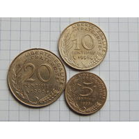 Лот #81: Франция: 5 сентимов 1996, 10 сентимов 1996, 20 сентимов 1996