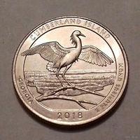 25 центов, квотер США, остров Кумберленд (штат Джорджия),  D