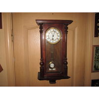 С 1 рубля!Часы настенные Густав Беккер Gustav Becker Freiburg in schl.нач.20 го века(печать на корпусе)