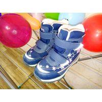 Ботиночки дутики детские Котофей 31 кожа/шерсть светятся при ходьбе