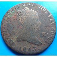 Испания 8 мараведи 1843 года. Изабелла II. Диаметр около 30 мм.