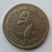 """Родезия и Ньясаленд 3 пенса 1957 """"Лилия, королева Елизавета II"""""""
