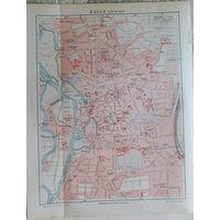 Карта HALLE    ХРОМОЛИТОГРАФИЯ  конец  19 века. 24х19 см.
