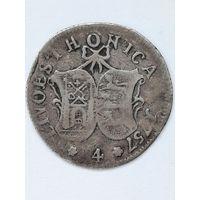 """4 копейки 1757г. """"Ливонез"""" , серебро."""
