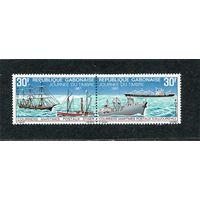 Габон. Почтовые корабли. День почтовой марки, сцепка