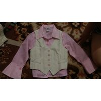 Рубашка с жилеткой, рост 92-96-104 см