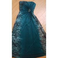 Вечернее платье декольте- изумрудный питон