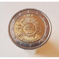 2 евро  Бельгия 2012  10 ЛЕТ НАЛИЧНОМУ ОБРАЩЕНИЮ ЕВРО