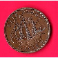 02-11 Великобритания 1/2 пенни 1939 г.