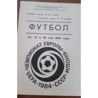 Программка Чемпионат Европы 1984 (юноши)
