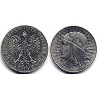 10 злотых 1932, Польша. Ядвига. Вариант со знаком монетного двора под правой лапой Орла. Коллекционное состояние