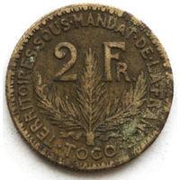 Того 2 франка 1925 года (случайная монета). F-XF