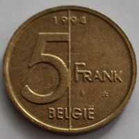 Бельгия, 5 франков 1994 г. 'BELGIE'