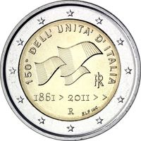 2 Евро Италия 2011 150-летие объединения Итальянской республики UNC из ролла