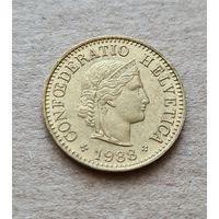 Швейцария 5 раппенов, 1988