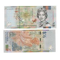 Банкнота Багамские о-ва 50 центов (1/2 доллара) 2019 UNC ПРЕСС Елизавета II