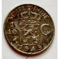 Голландской Ост-Индия 1/10 гульдена 1945 (R) P 1-7-33