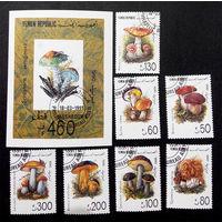 Йемен 1990  г. Грибы. Флора, полная серия из 7 марок + Блок #0210-Ф1P29