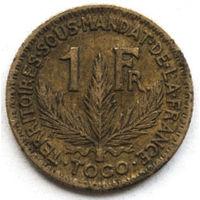 Того 1 франк 1924 года (случайная монета). F-XF