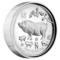 """Австралия 1 доллар 2019г. Австралийская лунная серия II: """"Год Свиньи"""". Высокий рельеф. Монета в капсуле; подарочном футляре; номерной сертификат; коробка. СЕРЕБРО 31,107гр.(1 oz)."""