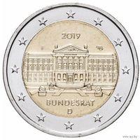 2 евро 2019 Германия F Бундесрат UNC из ролла