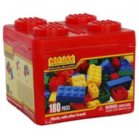 Конструктор Разноцветные кубики 180 штук в пластиковом контейнере Best Lock(США),+5.