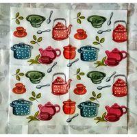 Салфетка для декупажа. Посуда, чайник, кухня. 33х33