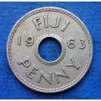 Фиджи Британская колония 1 пенни 1963