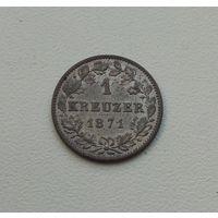 ВЮРТЕМБЕРГ  1 крейцер 1871 г.