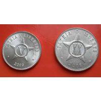 Куба 2 монеты 5 и 20 центаво 2008, 2009 (UNC)