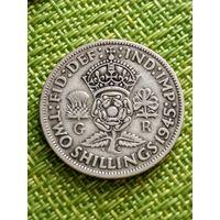 Великобритания 2 шиллинга 1945 г серебро