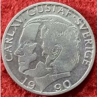 1 крона 1990 год Швеция, Король Карл XVI Густав
