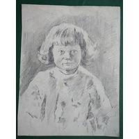 Крохалев Петр. Портрет девочки. Рисунок Бумага. карандаш.  17х22 см.