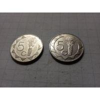 Намибия 5 центов 1993, 2002 - две монеты одним лотом