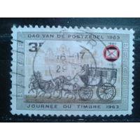 Бельгия 1966 Надпечатка эмблемы Филателист. ассоциации Бельгии на марке Почтовая карета