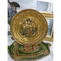 Тарелка-панно настенная Медь чеканка орнамент Англия Охота