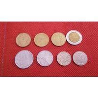 Италия памятные монеты 8 штук