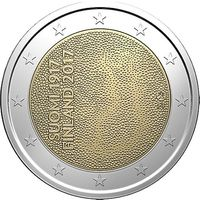 2 Евро Финляндия 2017 100 лет независимости Финляндии UNC из ролла