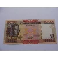 Гвинея. 1000 франков 2006 год  /самосвал, экскаватор, техника/
