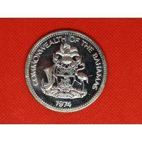 Монета 10 долларов 1974 года. Багамские острова. Серебро. 50 гр.