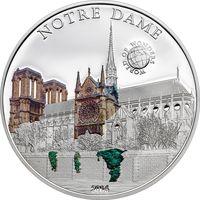 """Палау 5 долларов 2014г. """"Мир Чудес: Собор Парижской Богоматери"""". Монета в капсуле; сертификат. СЕРЕБРО 20гр."""