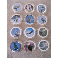 Комплект из двенадцати монет номиналом 10 квач. Малави, 2010 год. Серия: хищные птицы.