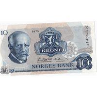 Норвегия, 10 крон, 1975 г., UNC