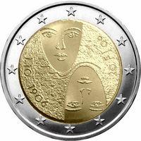 2 евро Финляндия 2006 100 лет универсального и равного избирательного права UNC из ролла