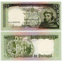 Португалия. 20 эскудо (образца 1964 года, P167b, подпись 2, UNC)