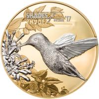 """Острова Кука 5 долларов 2017г. """"Оттенки природы: Колибри"""". Монета в капсуле; подарочном футляре; сертификат; коробка. СЕРЕБРО 25гр."""